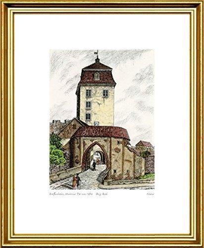 Kunstverlag Christoph Falk Handkolorierte Radierung Großenhain, Meissner Tor um 1834 im Rahmen Goldkehle