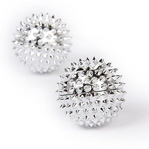 2 Magnetische Akupressurkugeln - Silber klein, Durchmesser 32 mm