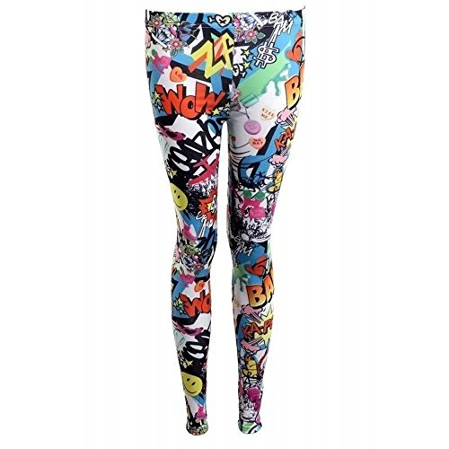 Damen-Leggings, Motiv: Comic/Smiley/Bang Bang, vollständig bedruckt, Stretch, Größe 34-52, Mehrfarbig