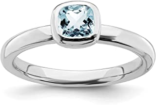 925 Sterling Silver Cushion Cut Blue Aquamarine Band Ring Stackable Gemstone Birthstone March Fine Jewelry For Women Gift Set