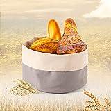Cesta para panecillos como almacenamiento de pan, panecillos y pasteles para servir y guardar pan, pretzés y productos horneados, 25 cm de diámetro, color gris claro