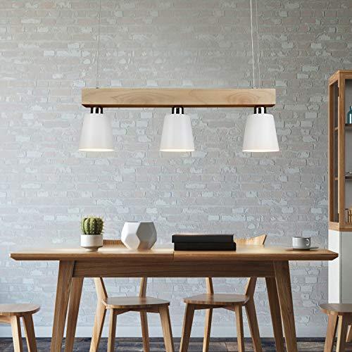 GBLY Lámpara colgante LED mesa de comedor madera 3 llamas blanco cálido lámpara de mesa de comedor ajustable en altura para comedor sala de estar restaurante de oficina, blanco, E27 iluminante incl.