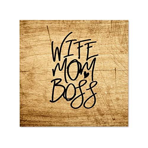 Cartello in legno con scritta in inglese 'Wife Mom Boss, Mom Life, Motherhood, Best Mama, Mothers Day' (lingua italiana non garantita)