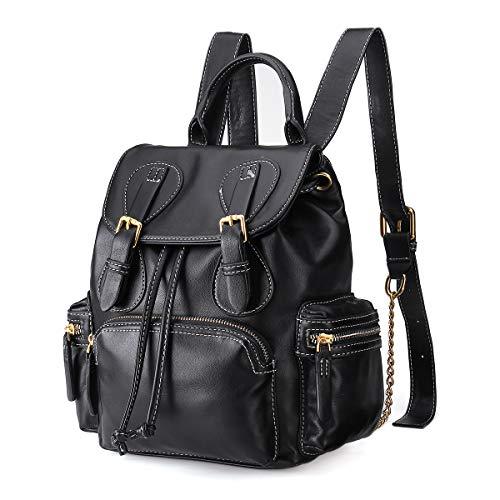 Anti-Theft Leather Backpacks Womens Rucksack Ladies Handbag, JOSEKO Waterproof Backpack Travel Shoulder Bag Leisure PU Leather Daypack with Adorable Bear (Black#04, 8.66'* 4.33' * 11.4')