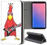 Handyhülle für Sony Xperia Z3 Premium Smart Einseitig Flipcover Flip Hülle Hülle Xperia Z3 Motiv (1009 Vogel Bird rot mit Gitarre Cool Rock Angry)