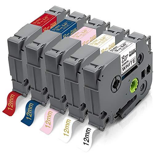 5X Pristar 12mm Compatibile Nastro Raso per Brother TZe-R231 TZe-R234 TZe-RE34 TZe-RN34 TZe-RW34 per PT-P710BT H110 D210 H200 E100VP H107B H100LB H101GB H100 H100R H105 H101C 1000 D400VP