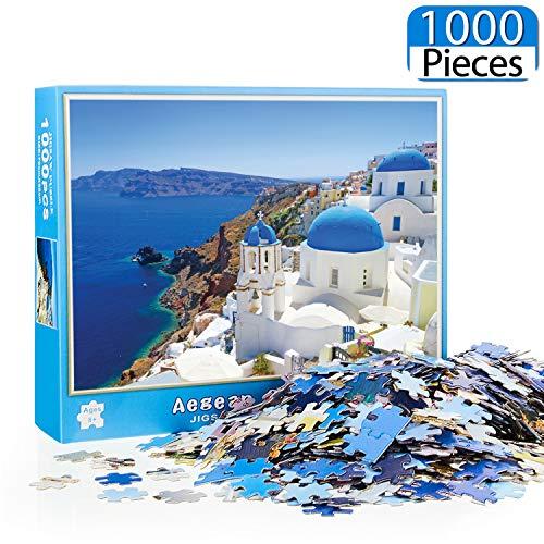 Rompecabezas de 1000 Piezas Puzzles de Patrón de Iglesia de Santorini Puzzles de Castillo de Bahía de Paisaje Juego de Rompecabezas Intelectual Educativo para Niños Adultos, 27,56 x 19,69 Pulgadas