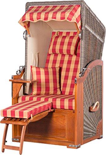 Möbelpromenade Strandkorb List Mahagoni Einsitzer PE grau Dessin Karo Rot