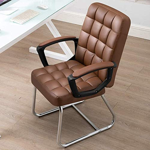 SJZLMB Ergonomischer Stuhl Ergonomischer Stuhl, Bürostuhl aus Leder mit den Armen, zu Hause Computer-Stuhl, Büro-Boss Stuhl, Economical Drehstuhl, Latex-Kissen (Color : Brown, Size : 47 * 47 * 95CM)
