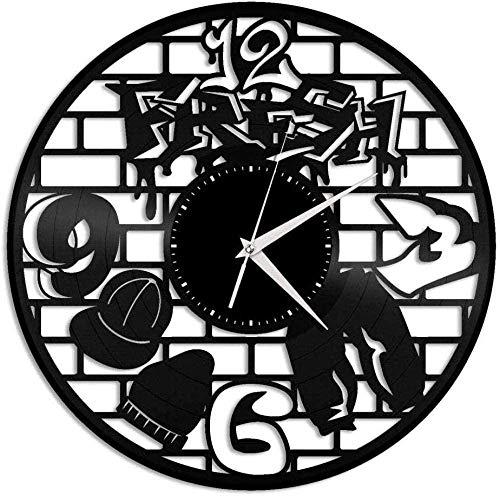 WYDSFWL Reloj de Pared Reloj de Pared de Vinilo Reloj de Disco de Vinilo de 12 Pulgadas Reloj de decoración Creativa Retro de música Hip Hop-con LED-Sin LED