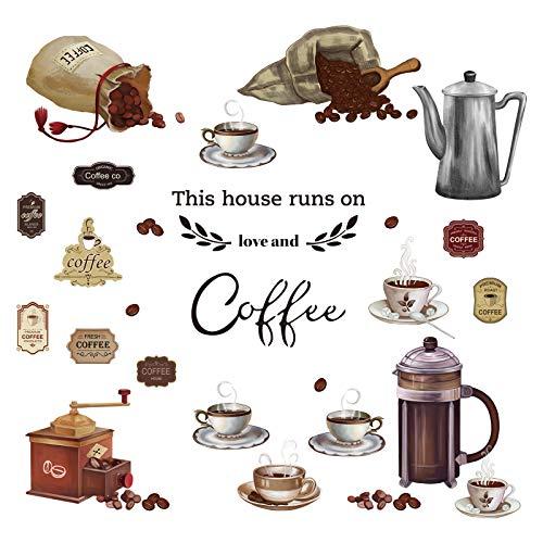 decalmile Adesivi Murali caffè Cucine Adesivi da Parete Citazioni Tazze da tè Decorazione Murale Ristorante Cafe Bar Sala da Pranzo