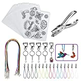 BAPHILE 66PCS Heat Shrink Plastic Sheet Kit Include 13PCS Blank Shrinky Art Paper,2PCS Shrink Plastic with Pattern,Hole Punch,Keychains,Colored Lobster Clasp,Leather Rope for Kids Creative DIY Craft