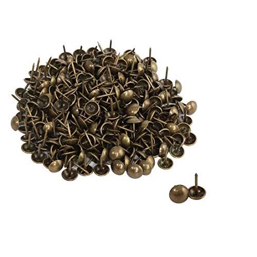 DealMux 250 stücke Möbel Tack Nails Pins 12mm Dia Runden Kopf Metall Reißzwecke Vintage Style DIY Sofa Kopfteil Handwerk Dekorieren Bronze Ton