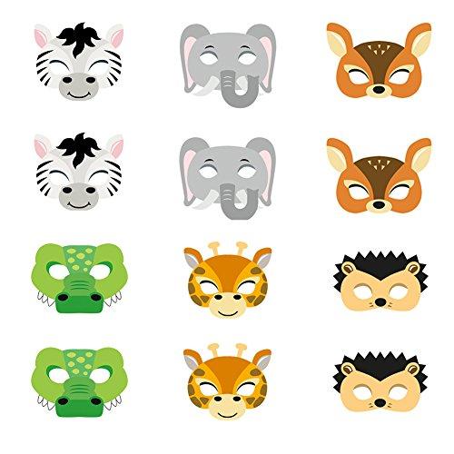 ED-Lumos Set von 12 Karton Masken für Geburtstagsfeier Kinder Geschenke 6 Assorted
