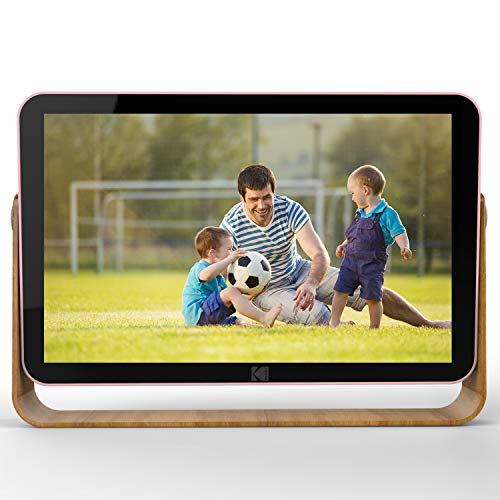 KODAK RCF-108 Wifi Digital Picture Frame with 10 inch 1280x800 IPS Touch screen,4000mAh Li Battery, 10G Cloud Storage, 8GB Memory with Picture Music Video Function Digital Photo Frame (Rose Gold)