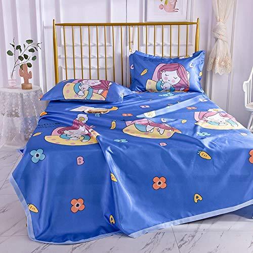 APO Wasbaar laken ijs zijden mat zomer afdrukken opvouwbare airconditioning mat drie stuk set ademende ijs zijde eenvoudige bed rok mat voor familie