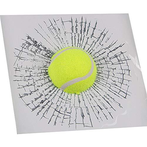 Ndier Adesivo per Auto, 1 Scheda Creativa Rotto Vetro di Auto Effetto 3D Car Sticker Personalizzato Autoadesivo Adesivo Riflettente Palla da Tennis Verde
