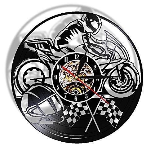 Reloj de Pared Grande Motocicleta Récord de Vinilo Reloj de Pared Moto Decorativo Reloj Motociclista Racer Racer Regalo Arte Casa Arte Moderno Muro Colgante Decoración Reloj de Pared silencioso