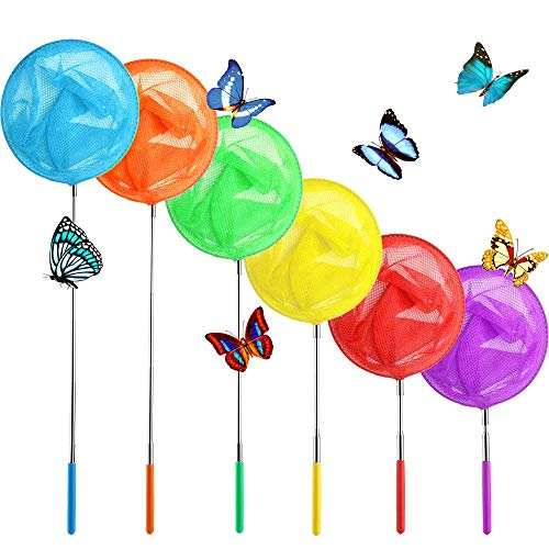 Qiuttnqn 6 Pack Telescopic Butterfly Net Set Bugs Insects Crabs Catching Nets,Kids Colorful Fishing Nets for Catching Fish,Butterfly,Insect,Ladybird Extendable