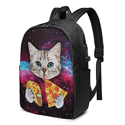 Galaxy Taco Cat Pizza Travel Laptop Backpack College School Bag Casual Daypack With Usb Charging Port Starry Sky Cat Backpack