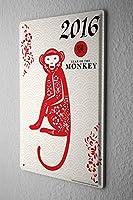 [ZUNYI] ヴィンテージ 雑貨 ホロスコープ年猿中国 ブリキ 壁の装飾、家、パブ、ビール、ガレージ、庭、コーヒー[20x30cm]