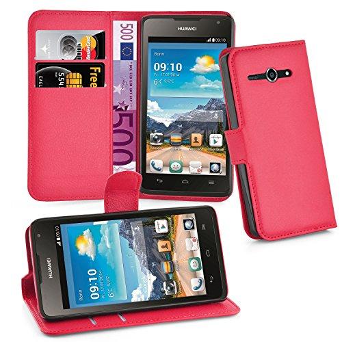 Cadorabo Hülle für Huawei Ascend Y530 - Hülle in Karmin ROT – Handyhülle mit Kartenfach & Standfunktion - Case Cover Schutzhülle Etui Tasche Book Klapp Style