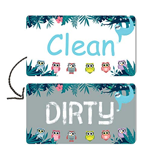 Berrysun Dishwasher Magnet Clean Dirty Sign, Strongest Magnet Waterproof Double Sided Flip Sign, with Bonus Adhesive Metal Magnetic Plate for Non Magnetic Dishwasher, Suitable for All Dishwasher