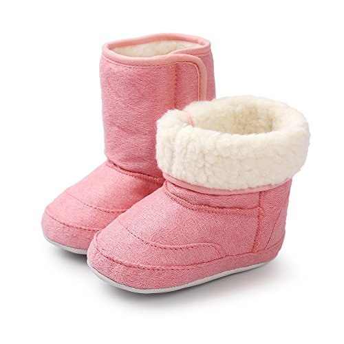 MK MATT KEELY Dziecięce chłopięce dziewczęce miękkie podeszwy śniegowce zimowe ciepłe buty botki, - Różowy 1 - 0-6 Miesiące