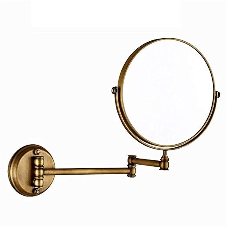 僕の想定懺悔化粧鏡 LED照明虫眼鏡両面回転3回虫眼鏡壁掛け美容化粧鏡調節可能なバスルーム化粧台化粧鏡化粧鏡 浴室のシャワー旅行 (色 : ゴールド, サイズ : ワンサイズ)
