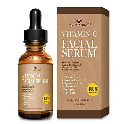Aroma King Vitamin C Serum for Face with Hyaluronic Acid & Vitamin E, Anti Aging Anti Wrinkle Lighten & Brighten Dark Spots & Acne Scars, Restore & Boost Collagen,1 fl oz (30 ML) by Aroma King