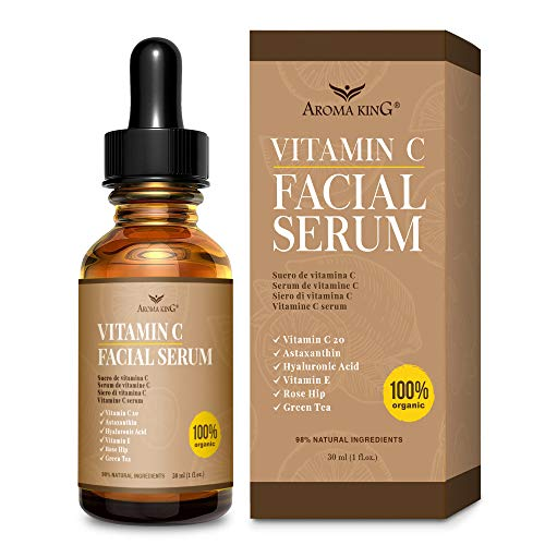 Aroma King Vitamin C Serum for Face with Hyaluronic Acid & Vitamin E, Anti Aging Anti Wrinkle Lighten & Brighten Dark Spots & Acne Scars, Restore & Boost Collagen,1 fl oz (30 ML)