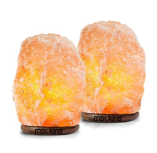 mockins 2 Pack Natural Hand Carved Himalayan Salt Lamp with Beautiful Wood...