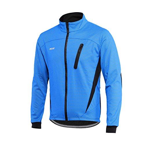 ARSUXEO Winter Aufwärmen Thermovlies Fahrradjacke Winddicht Wasserdicht Atmungsaktiv 16H Blau XL