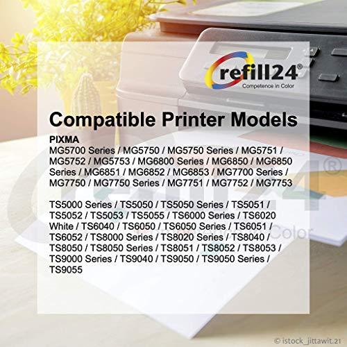 refill24 Cartuchos Recargables,Compatible para Canon PGI-570 CLI-571,PIXMA TS5052 TS5055 TS5055 TS6050 TS6051 TS6052 MG5752 MG5752 MG5753 MG6501 MG6852 MG6853 + 500 ML Tinta