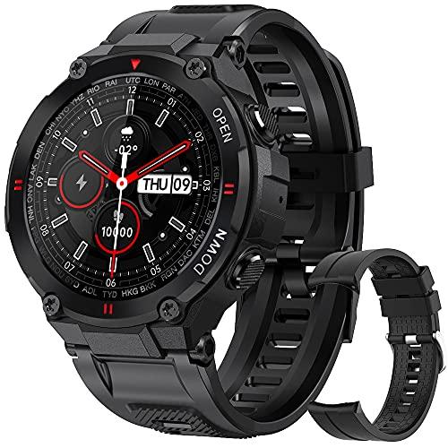 Smartwatch Hombre, Reloj Inteligente Impermeable 68, Monitor de Sueño y Caloría Pulsómetro,Presión Arterial, Podómetro Pulsera Reloj Inteligente para Android iOS (Negro)
