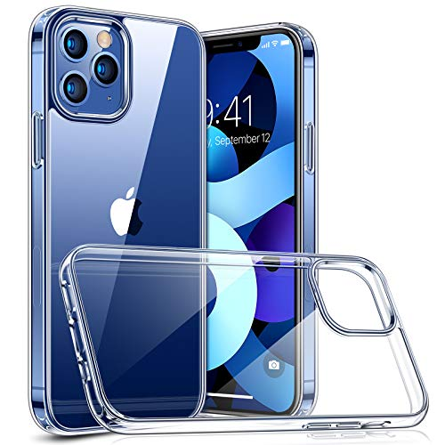 TORRAS Diamond Series Compatible with iPhone 12 Case/Compatible with iPhone 12 Pro Case 6.1 Inch (2020), Slim Shockproof Hard PC Back with Soft Edge Phone Case, Clear