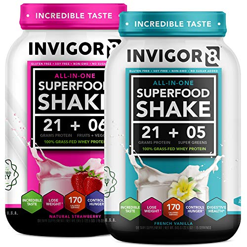 INVIGOR8 Superfood Shake (Strawberry and Vanilla Bundle) Gluten-Free Non GMO Meal Replacement Grass-Fed Whey Protein Shake with Probiotics and Omega 3 (1290g)