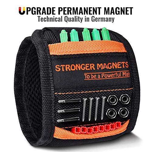Bestes Männer Geschenke Magnetisches Armband - NEU2020 Magnetarmband für Handwerker Geschenke Nützliche Gadgets DIY Werkzeug für Männer, Vatertagsgeschenk, Vatertag, Geschenk für Vater (Orange&Black)