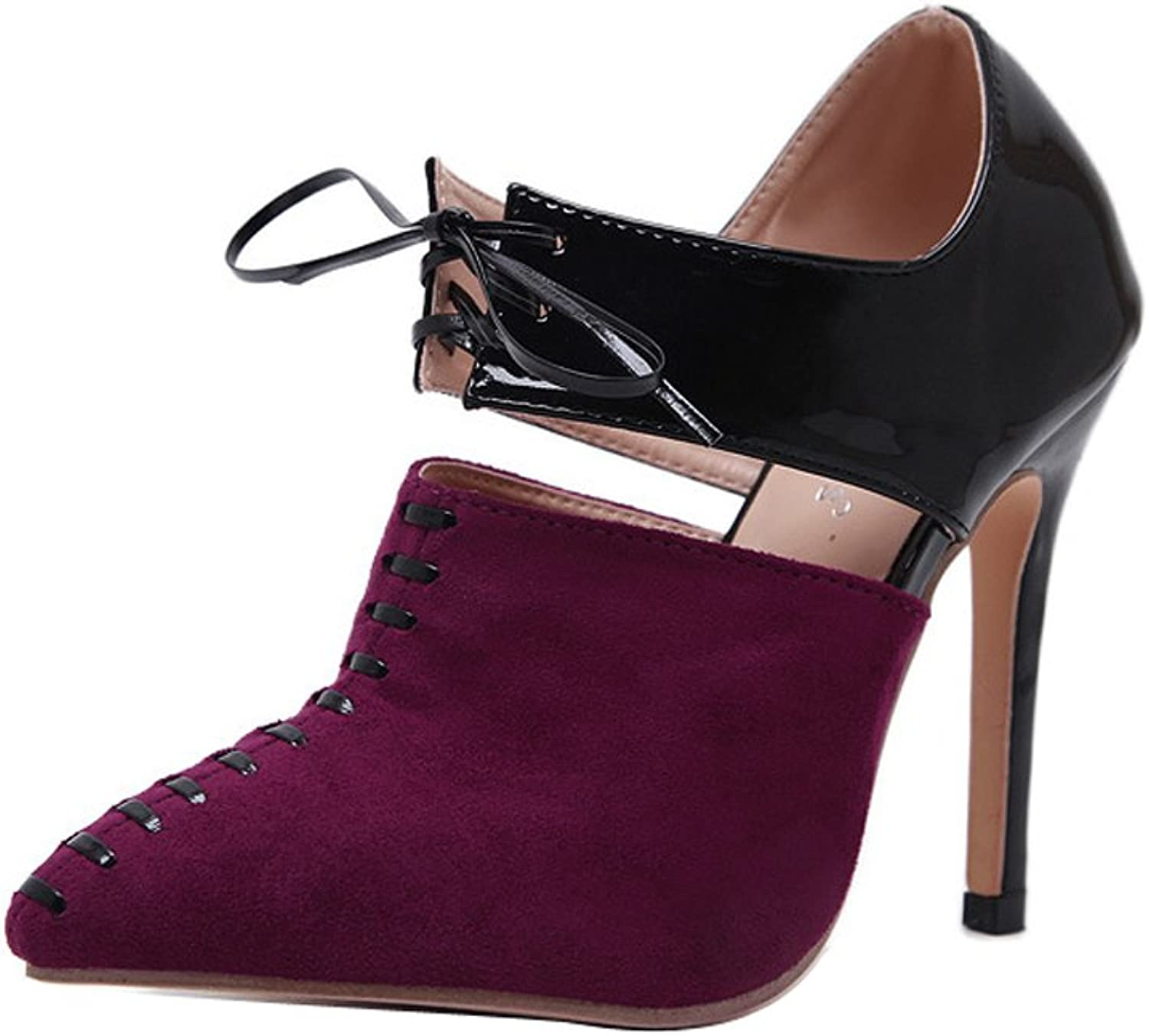 Ladola Womens Two-Toned Pointed-Toe Suede Pumps shoes