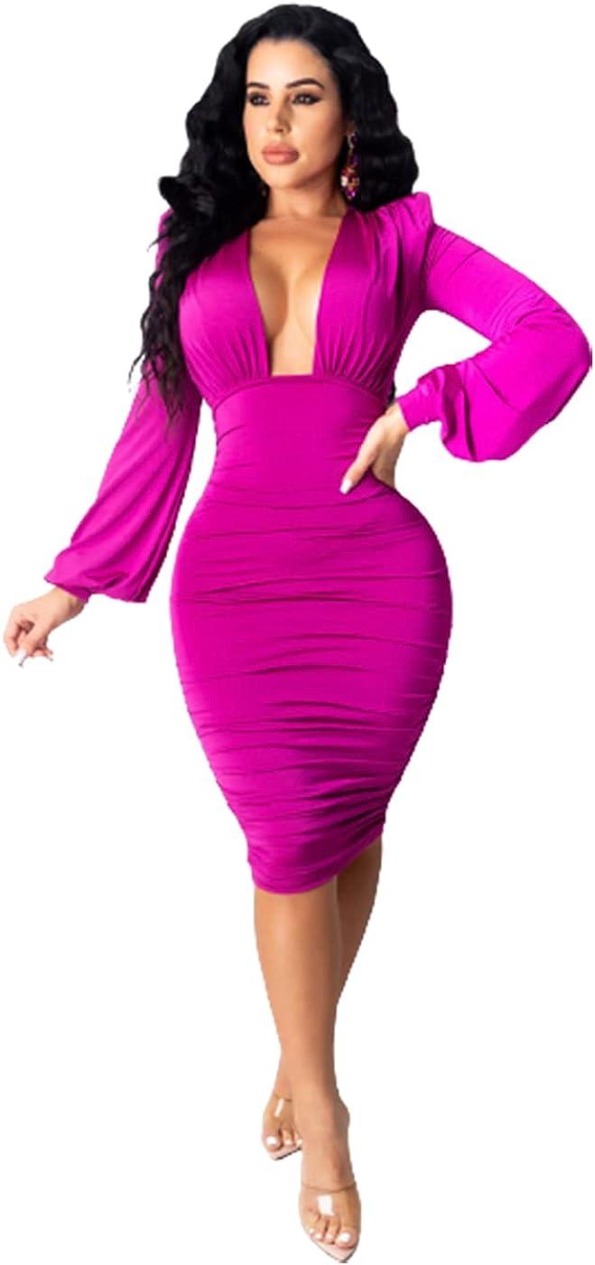 Ekaliy Women Sexy Wrap V Neck Ruffle Ruched Puff Long Sleeve Bodycon Mini Dresses