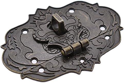 Antique Max 43% OFF Bronze Hasp Vintage Decorative Store Box Wooden Jewelry Latch