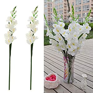 Artificial and Dried Flower 2pcs Artificial Flowers Silk Gladiolus Flowers with Stem for Flower Arrangement Wedding Home Decor