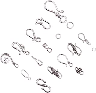 PH PandaHall 50 Sets 10 Styles Antique Silver Tibetan S Hook Ring Toggle Clasps End Clasps for Bracelet Necklace Jewelry Making