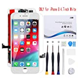 for iPhone 8 Screen Replacement 4.7 inch White, Compatible with iPhone 8 LCD Display Digitizer Frame Assembly Full Set with Repair Tools kit and Screen Protector for iPhone 8 LCD Screen White