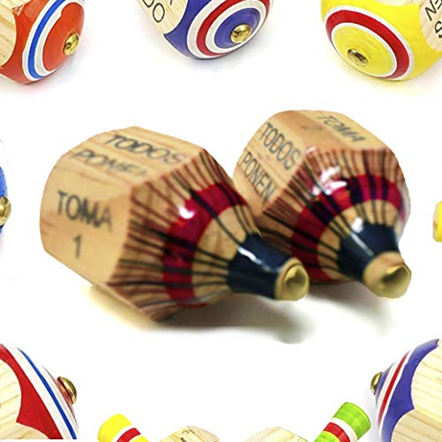 (Newest Version) Alondra's Imports (TM) Uniquely Designed, Classic Wood Spinning Top Game (Pirinola Toma Todo - Artesania De Madera) Unique Assorted Color - Premium Quality Finish - Complete Set of 2