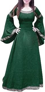 Toponly Women Cosplay Medieval Dress Renaissance Fit Irregular Long Sleeve Maxi Classical Dress