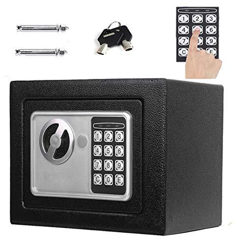 Elektronik Tresor Safe mit Zahlenschloss - Tresor mit Schlüssel und Codeschloss Sicherheitsbox wasserdichte Möbeltresore Wandtresor Schwarz 23 x 17 x 17cm