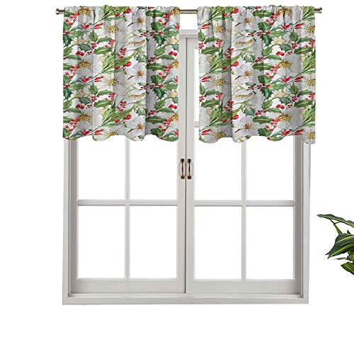 Hiiiman Rod Pocket Valance Christmas Themed Floral Poinsettia Winter Inspirations Berries Leaf, Set of 1, 54'x18' for Kitchen Bathroom Cafe