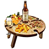 YSISLY Folding Portable Picnic Table, Fold Up Lightweight Camping Camp Table Small Outdoor Wood Wine Picnic Table for Party, Concerts at Park, Beach, Garden Camping, Barbecue, Travel