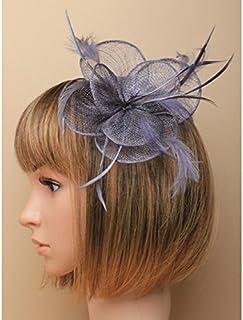 6496 Tocado circular de sinamay y plumas en clip y broche para boda, color gris carbón